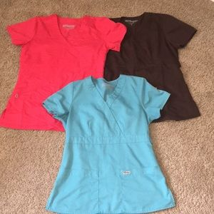 Set of three Grey's Anatomy size small scrub tops